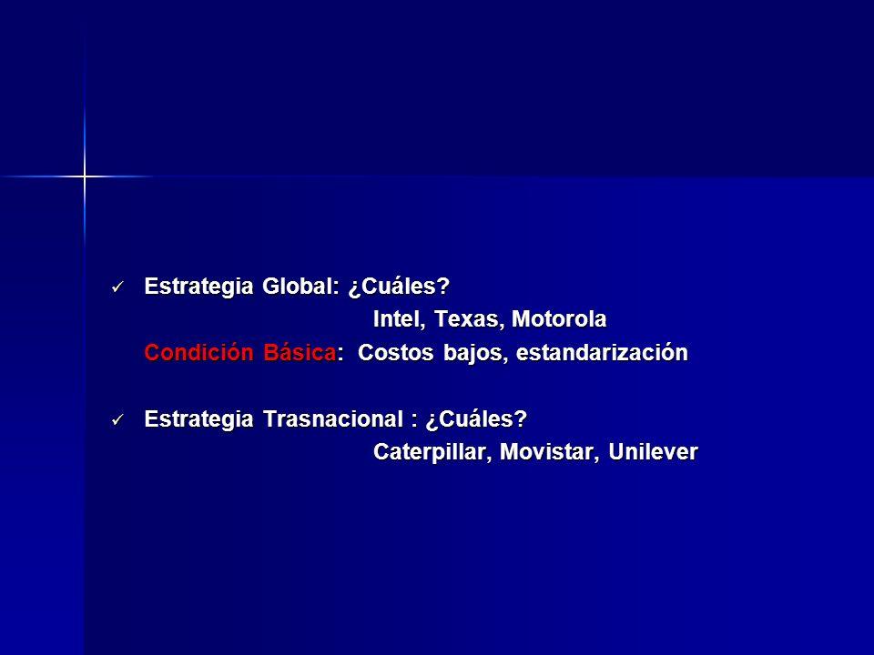 Estrategia Global: ¿Cuáles? Estrategia Global: ¿Cuáles? Intel, Texas, Motorola Condición Básica: Costos bajos, estandarización Estrategia Trasnacional
