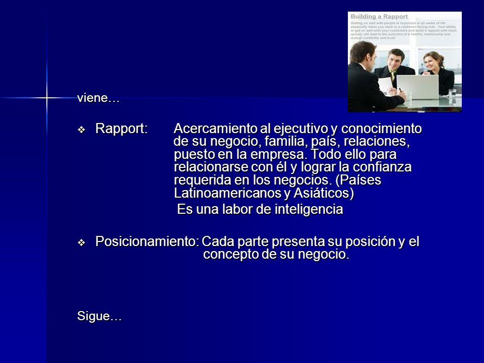 viene… Rapport:Acercamiento al ejecutivo y conocimiento de su negocio, familia, país, relaciones, puesto en la empresa. Todo ello para relacionarse co