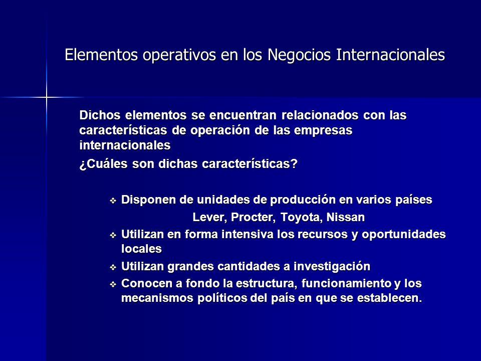Elementos operativos en los Negocios Internacionales Dichos elementos se encuentran relacionados con las características de operación de las empresas