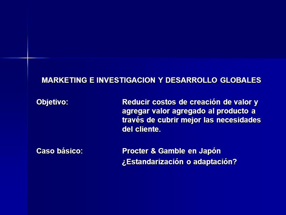 MARKETING E INVESTIGACION Y DESARROLLO GLOBALES Objetivo:Reducir costos de creación de valor y agregar valor agregado al producto a través de cubrir m