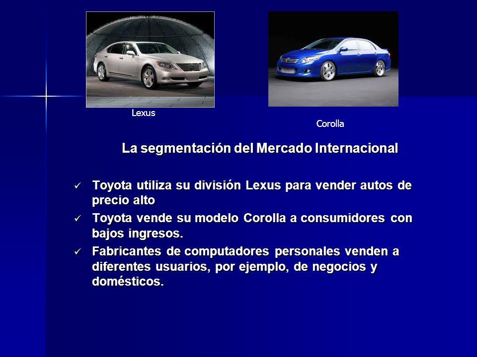 La segmentación del Mercado Internacional Toyota utiliza su división Lexus para vender autos de precio alto Toyota utiliza su división Lexus para vend
