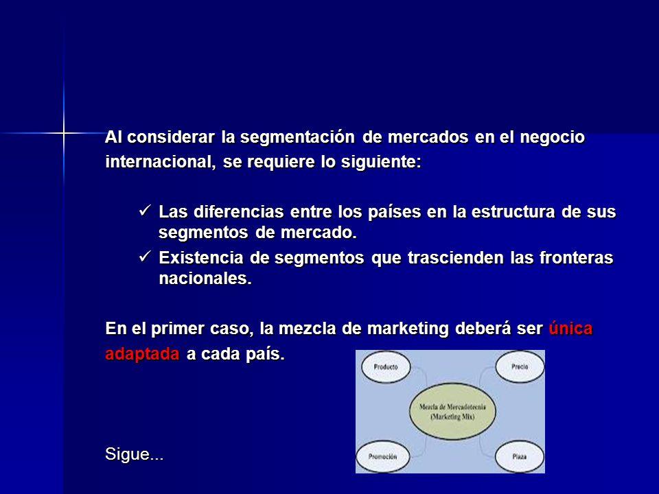 Al considerar la segmentación de mercados en el negocio internacional, se requiere lo siguiente: Las diferencias entre los países en la estructura de