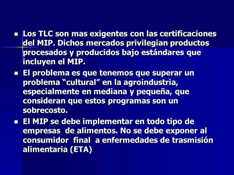 Los TLC son mas exigentes con las certificaciones del MIP. Dichos mercados privilegian productos procesados y producidos bajo estándares que incluyen