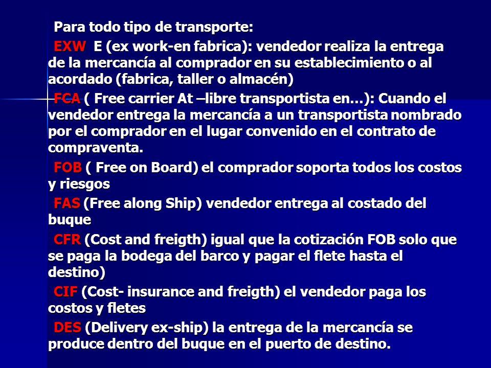 Para todo tipo de transporte: Para todo tipo de transporte: EXW E (ex work-en fabrica): vendedor realiza la entrega de la mercancía al comprador en su