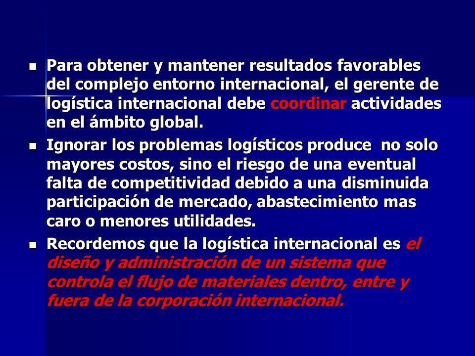 Para obtener y mantener resultados favorables del complejo entorno internacional, el gerente de logística internacional debe coordinar actividades en