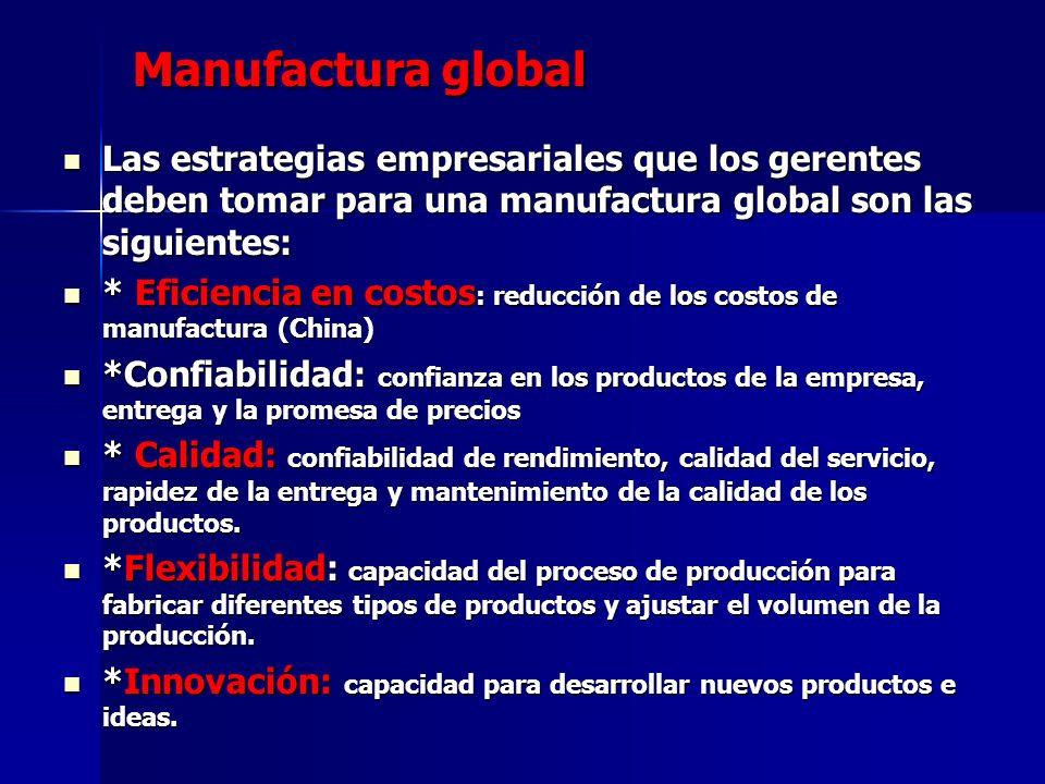 Manufactura global Las estrategias empresariales que los gerentes deben tomar para una manufactura global son las siguientes: Las estrategias empresar
