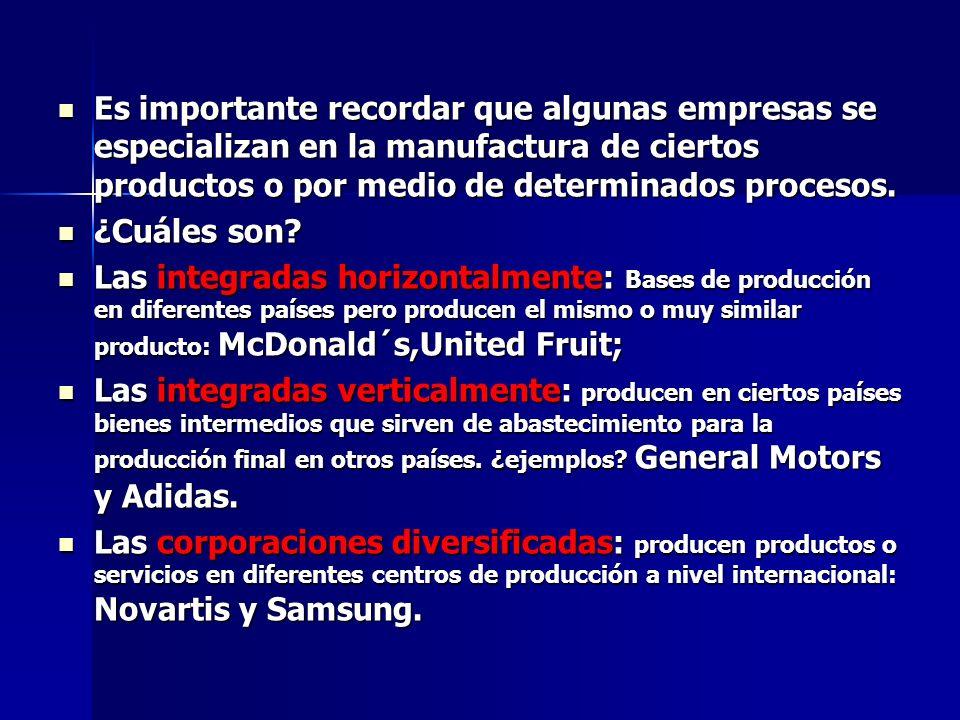 Es importante recordar que algunas empresas se especializan en la manufactura de ciertos productos o por medio de determinados procesos. Es importante