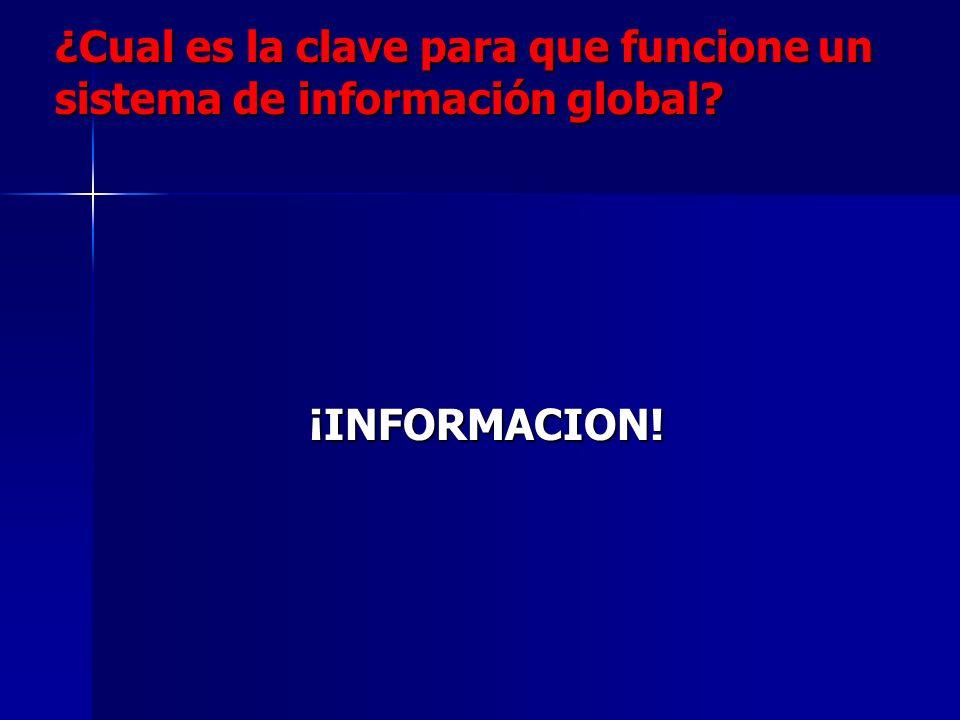 ¿Cual es la clave para que funcione un sistema de información global? ¡INFORMACION! ¡INFORMACION!