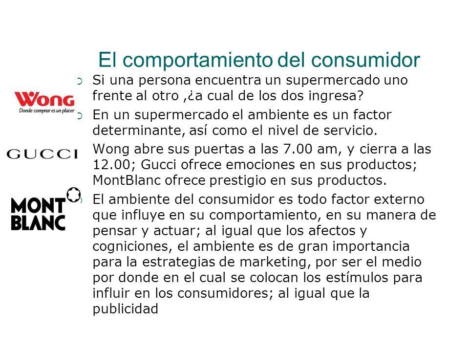 El comportamiento del consumidor Si una persona encuentra un supermercado uno frente al otro,¿a cual de los dos ingresa? En un supermercado el ambient