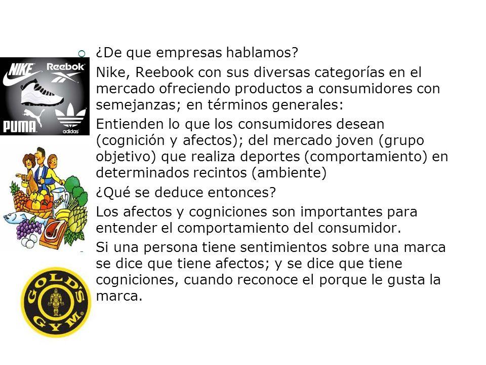 ¿De que empresas hablamos? Nike, Reebook con sus diversas categorías en el mercado ofreciendo productos a consumidores con semejanzas; en términos gen