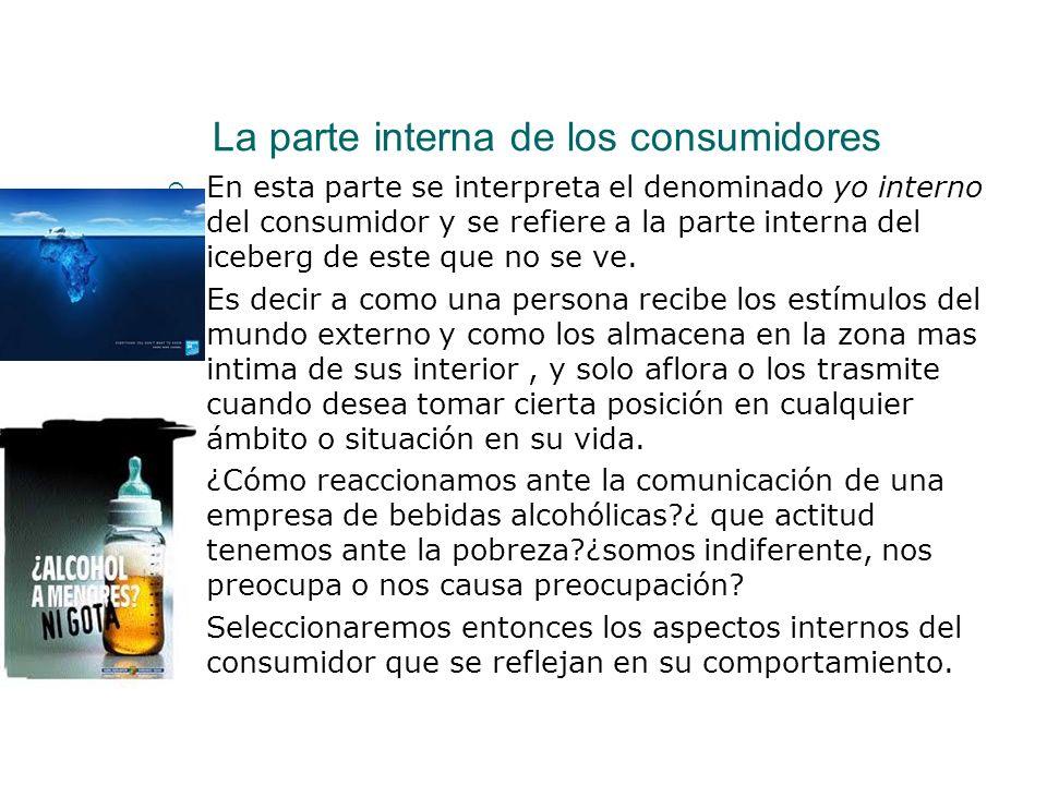 La parte interna de los consumidores En esta parte se interpreta el denominado yo interno del consumidor y se refiere a la parte interna del iceberg d