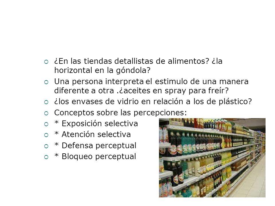 ¿En las tiendas detallistas de alimentos? ¿la horizontal en la góndola? Una persona interpreta el estimulo de una manera diferente a otra.¿aceites en