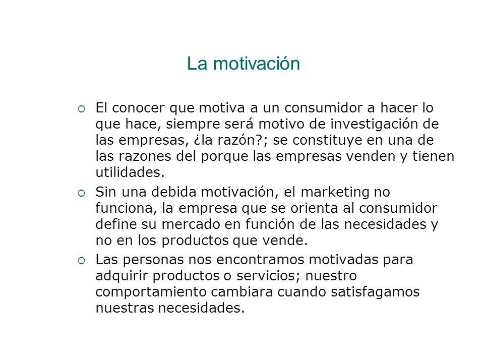La motivación El conocer que motiva a un consumidor a hacer lo que hace, siempre será motivo de investigación de las empresas, ¿la razón?; se constitu