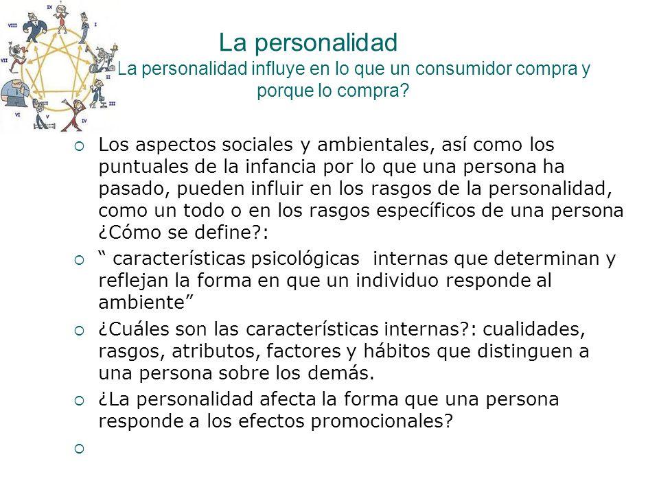 La personalidad ¿La personalidad influye en lo que un consumidor compra y porque lo compra? Los aspectos sociales y ambientales, así como los puntuale