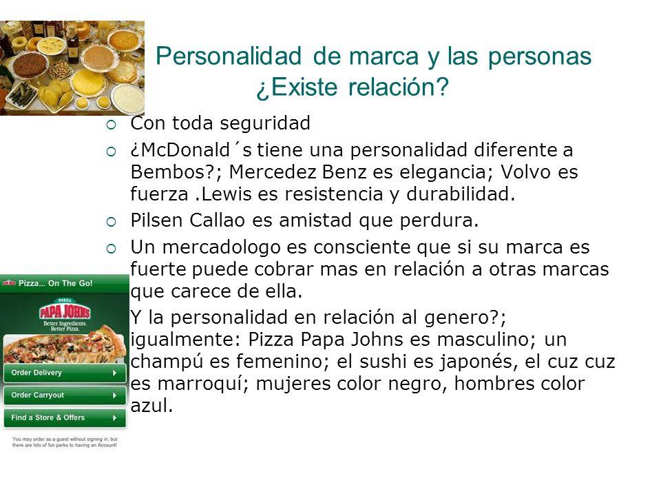 Personalidad de marca y las personas ¿Existe relación? Con toda seguridad ¿McDonald´s tiene una personalidad diferente a Bembos?; Mercedez Benz es ele