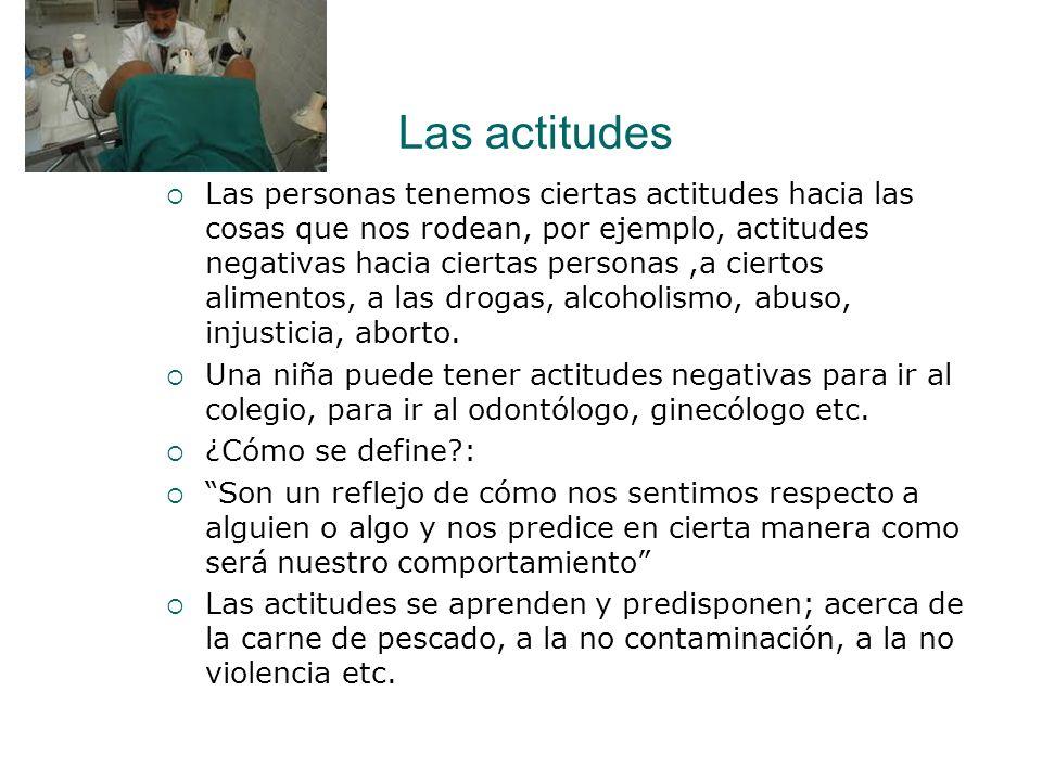 Las actitudes Las personas tenemos ciertas actitudes hacia las cosas que nos rodean, por ejemplo, actitudes negativas hacia ciertas personas,a ciertos