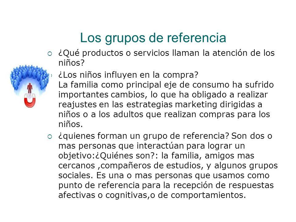 Los grupos de referencia ¿Qué productos o servicios llaman la atención de los niños? ¿Los niños influyen en la compra? La familia como principal eje d