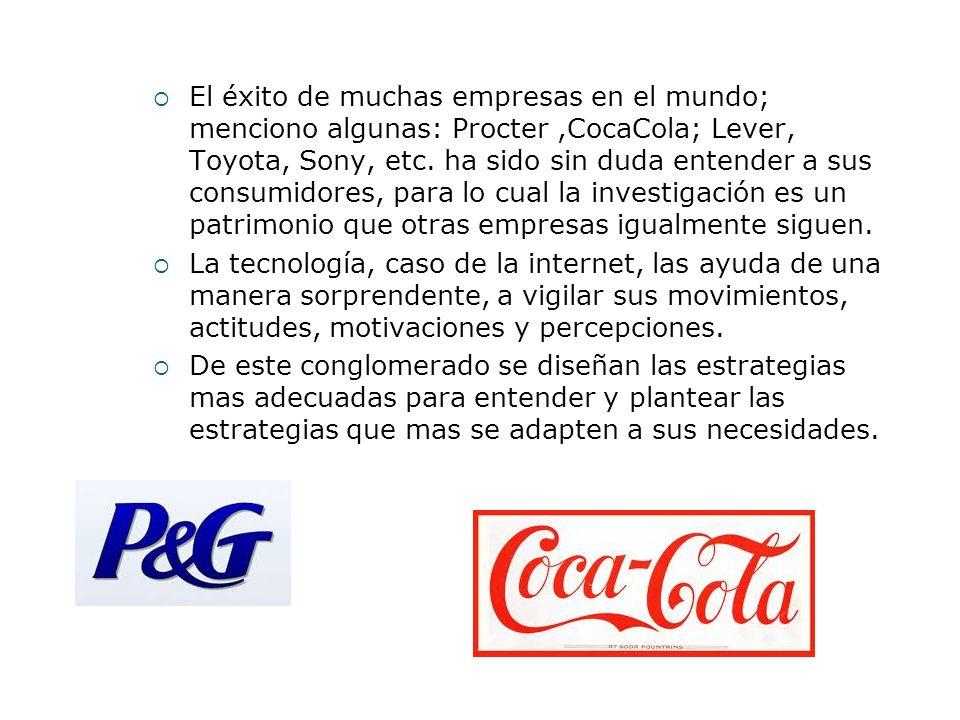 El éxito de muchas empresas en el mundo; menciono algunas: Procter,CocaCola; Lever, Toyota, Sony, etc. ha sido sin duda entender a sus consumidores, p