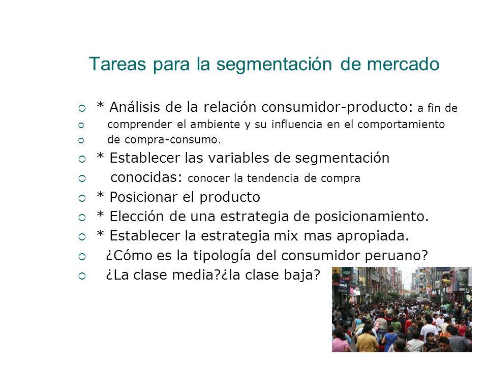 Tareas para la segmentación de mercado * Análisis de la relación consumidor-producto: a fin de comprender el ambiente y su influencia en el comportami