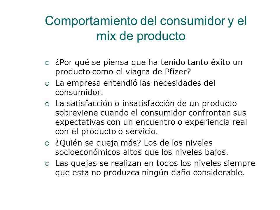 Comportamiento del consumidor y el mix de producto ¿Por qué se piensa que ha tenido tanto éxito un producto como el viagra de Pfizer? La empresa enten