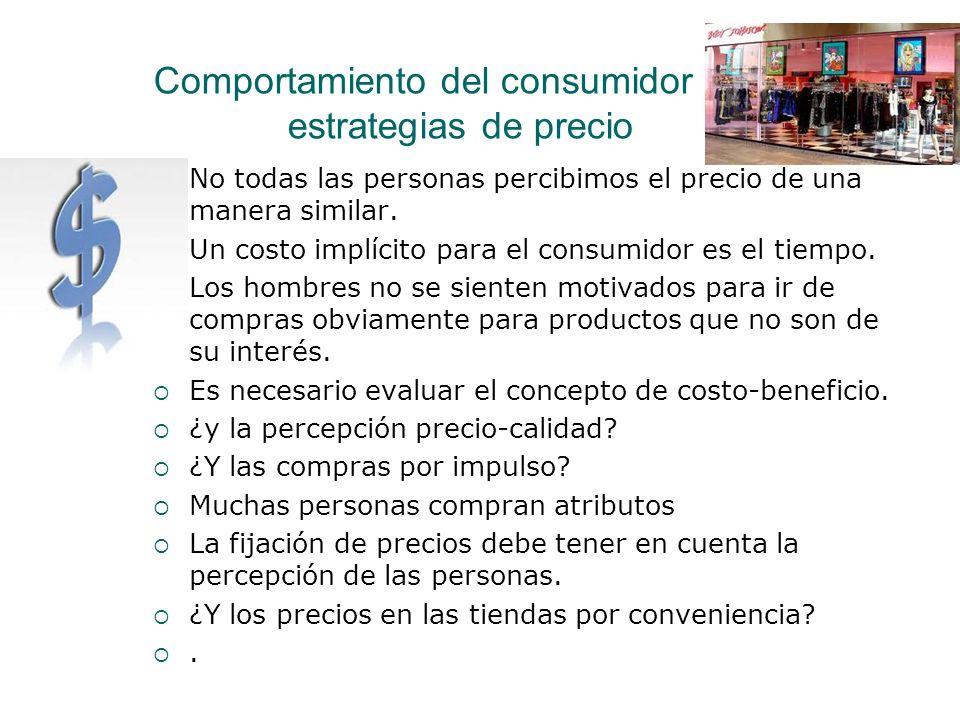 Comportamiento del consumidor y las estrategias de precio No todas las personas percibimos el precio de una manera similar. Un costo implícito para el