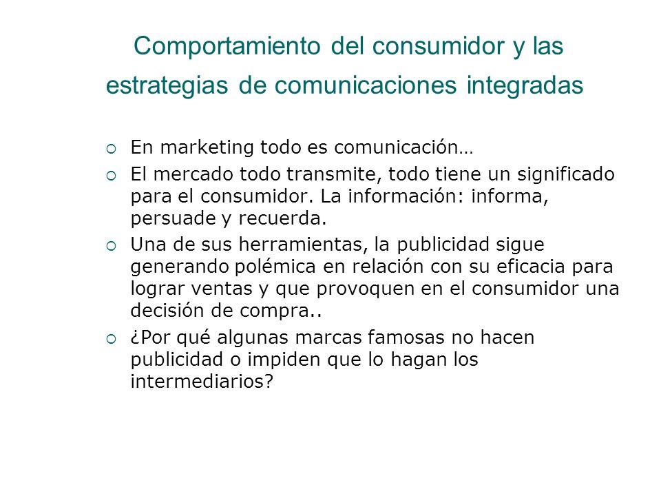 Comportamiento del consumidor y las estrategias de comunicaciones integradas En marketing todo es comunicación… El mercado todo transmite, todo tiene