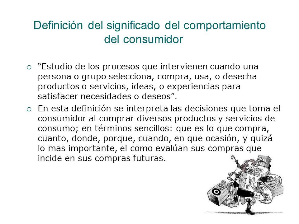 Definición del significado del comportamiento del consumidor Estudio de los procesos que intervienen cuando una persona o grupo selecciona, compra, us
