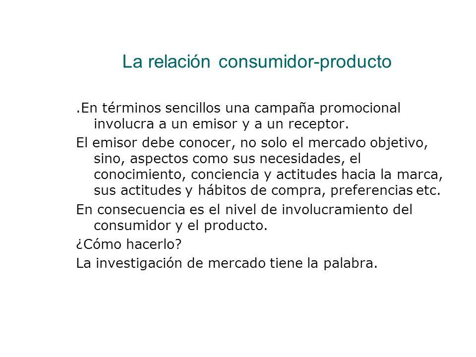 La relación consumidor-producto.En términos sencillos una campaña promocional involucra a un emisor y a un receptor. El emisor debe conocer, no solo e
