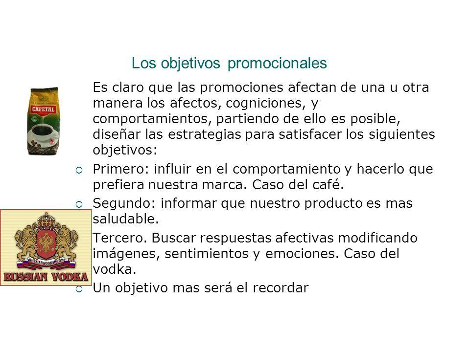 Los objetivos promocionales Es claro que las promociones afectan de una u otra manera los afectos, cogniciones, y comportamientos, partiendo de ello e