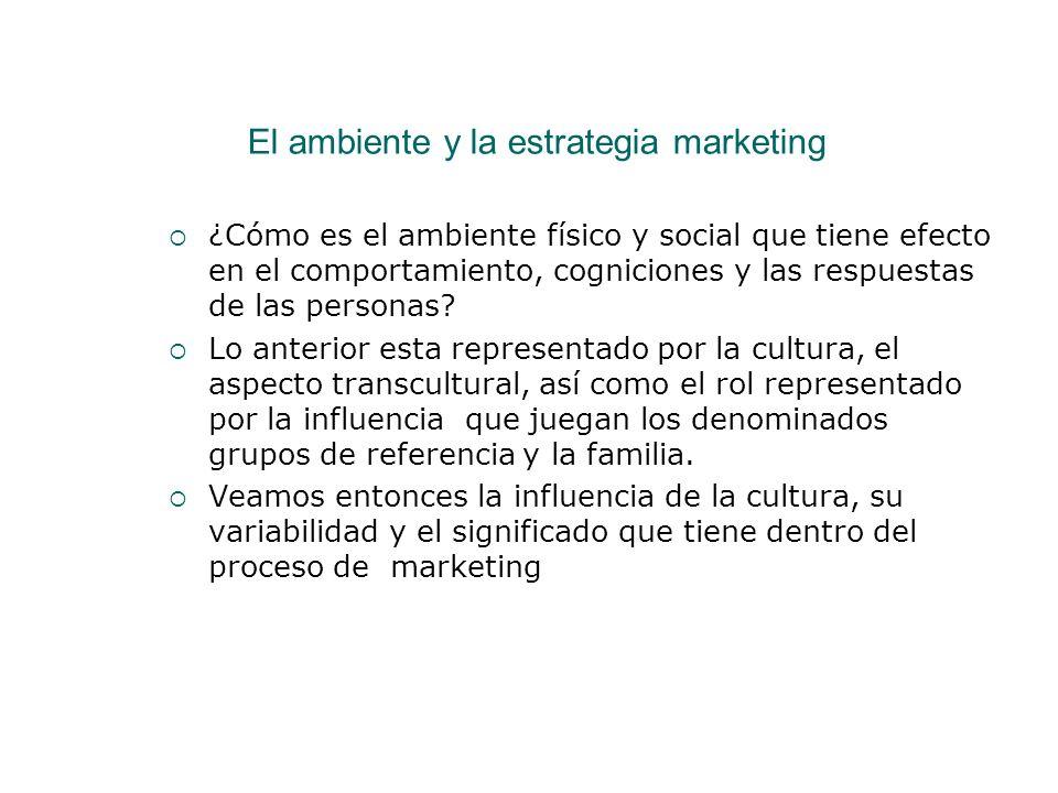 El ambiente y la estrategia marketing ¿Cómo es el ambiente físico y social que tiene efecto en el comportamiento, cogniciones y las respuestas de las