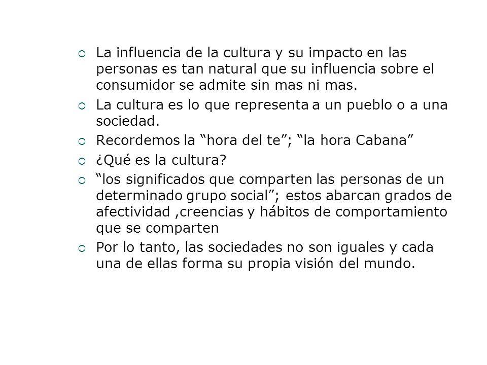 La influencia de la cultura y su impacto en las personas es tan natural que su influencia sobre el consumidor se admite sin mas ni mas. La cultura es