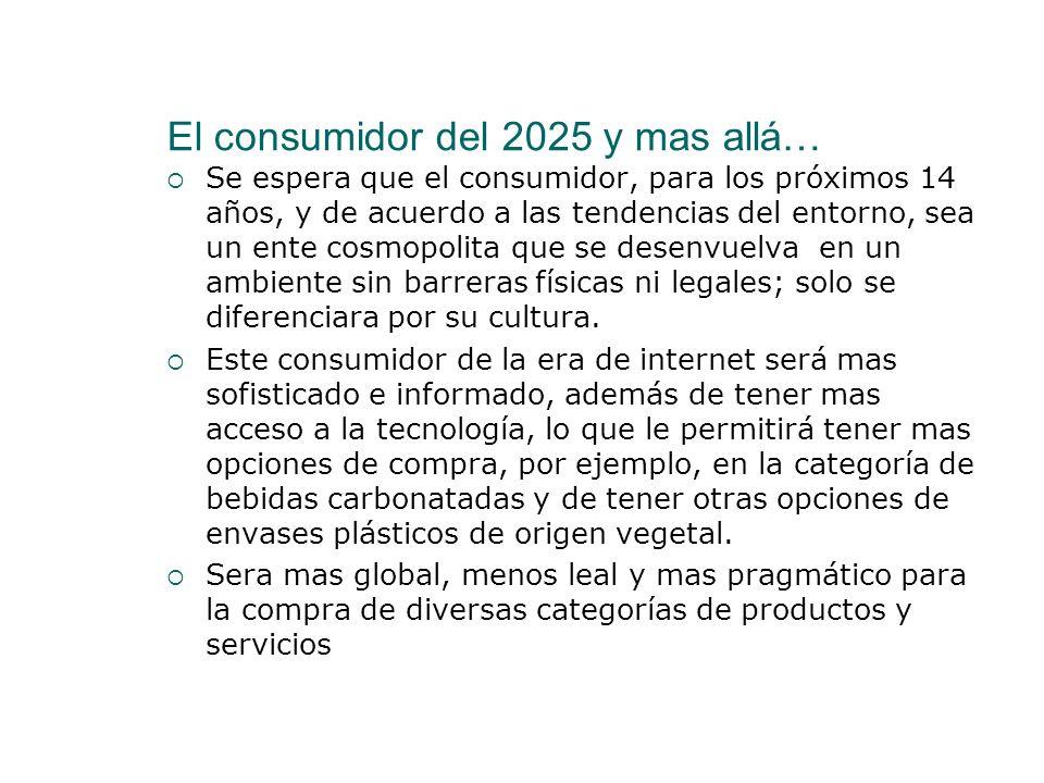 El consumidor del 2025 y mas allá… Se espera que el consumidor, para los próximos 14 años, y de acuerdo a las tendencias del entorno, sea un ente cosm