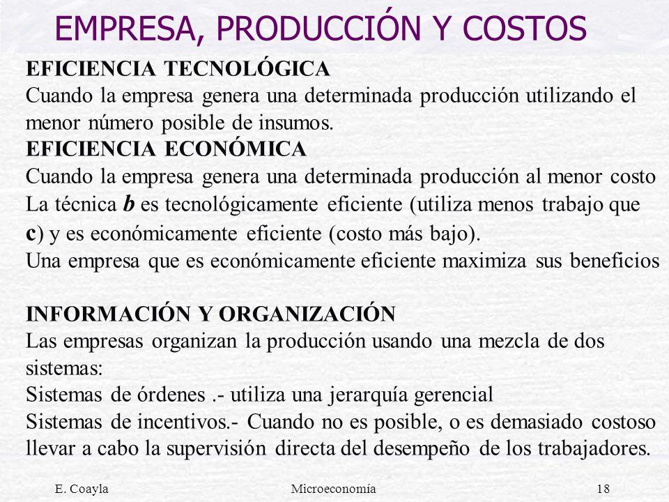E. CoaylaMicroeconomía18 EMPRESA, PRODUCCIÓN Y COSTOS EFICIENCIA TECNOLÓGICA Cuando la empresa genera una determinada producción utilizando el menor n