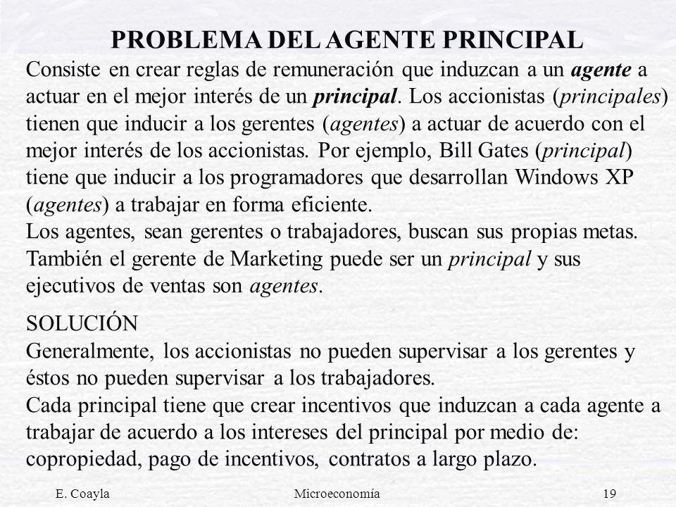 E. CoaylaMicroeconomía19 PROBLEMA DEL AGENTE PRINCIPAL Consiste en crear reglas de remuneración que induzcan a un agente a actuar en el mejor interés