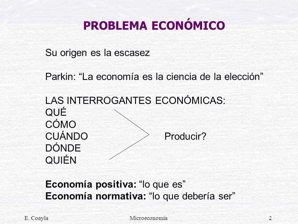 E. CoaylaMicroeconomía2 PROBLEMA ECONÓMICO Su origen es la escasez Parkin: La economía es la ciencia de la elección LAS INTERROGANTES ECONÓMICAS: QUÉ