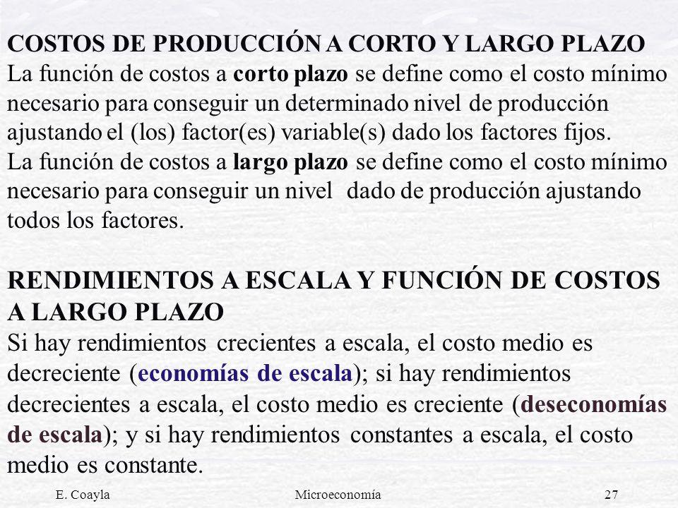 E. CoaylaMicroeconomía27 COSTOS DE PRODUCCIÓN A CORTO Y LARGO PLAZO La función de costos a corto plazo se define como el costo mínimo necesario para c