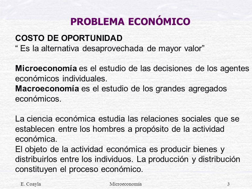 E. CoaylaMicroeconomía3 PROBLEMA ECONÓMICO COSTO DE OPORTUNIDAD Es la alternativa desaprovechada de mayor valor Microeconomía es el estudio de las dec