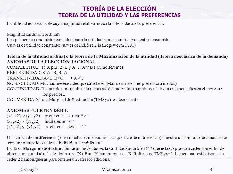 E. CoaylaMicroeconomía4 TEORÍA DE LA ELECCIÓN TEORIA DE LA UTILIDAD Y LAS PREFERENCIAS La utilidad es la variable cuya magnitud relativa indica la int