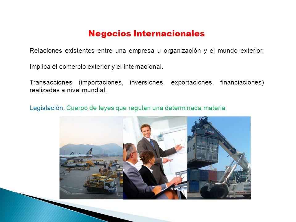 Negocios Internacionales Relaciones existentes entre una empresa u organización y el mundo exterior. Implica el comercio exterior y el internacional.