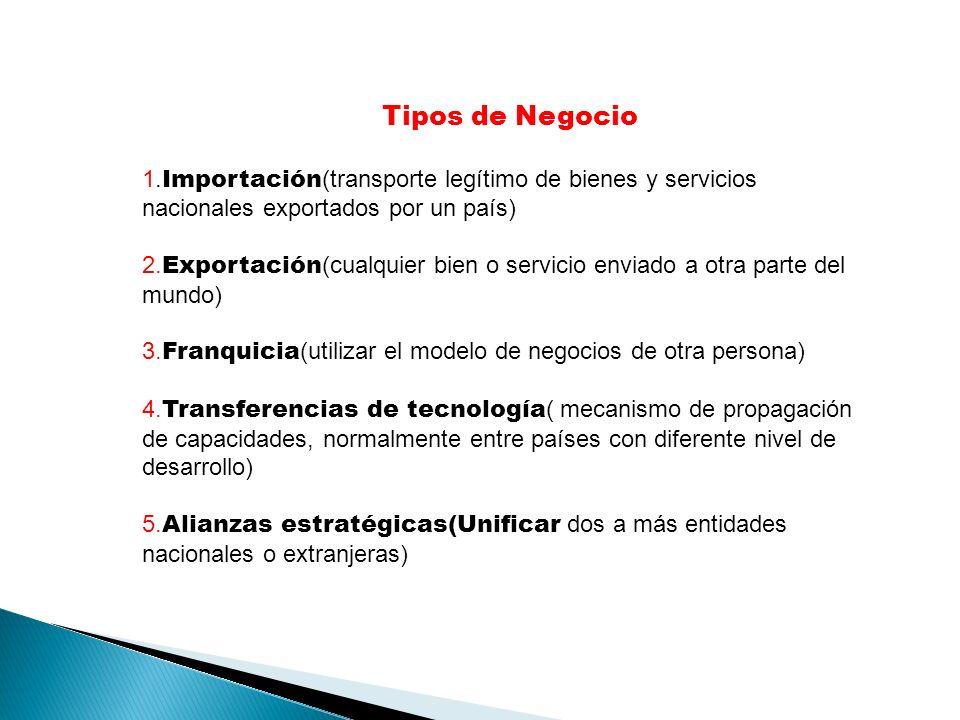 Tipos de Negocio 1. Importación (transporte legítimo de bienes y servicios nacionales exportados por un país) 2. Exportación (cualquier bien o servici