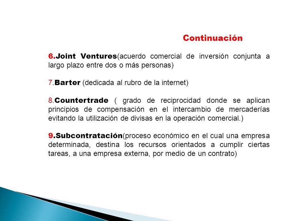 6.Joint Ventures (acuerdo comercial de inversión conjunta a largo plazo entre dos o más personas) 7. Barter (dedicada al rubro de la internet) 8. Coun