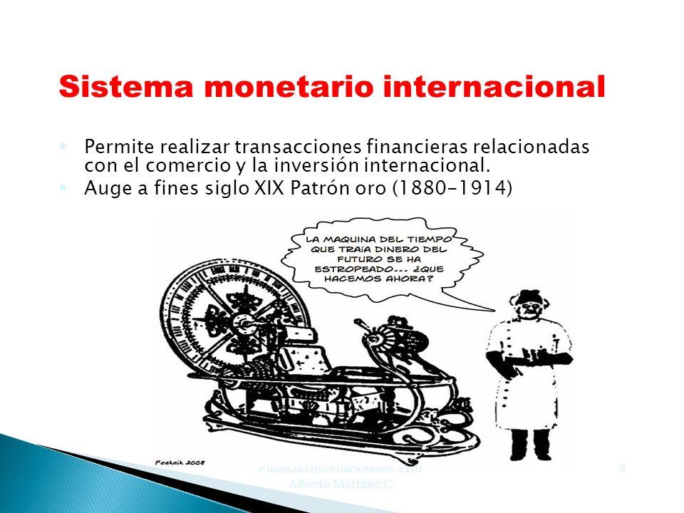 Finanzas Internacionales/ Prof. Alberto Martínez C. 9 Sistema monetario internacional §Permite realizar transacciones financieras relacionadas con el