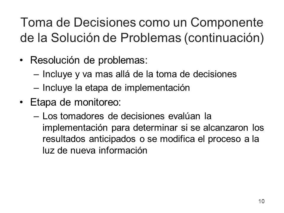 Toma de Decisiones como un Componente de la Solución de Problemas (continuación) Resolución de problemas: –Incluye y va mas allá de la toma de decisio