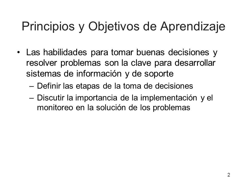 2 Principios y Objetivos de Aprendizaje Las habilidades para tomar buenas decisiones y resolver problemas son la clave para desarrollar sistemas de in