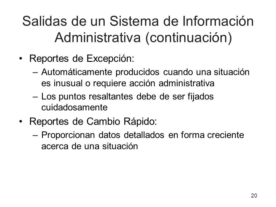 Salidas de un Sistema de Información Administrativa (continuación) Reportes de Excepción: –Automáticamente producidos cuando una situación es inusual
