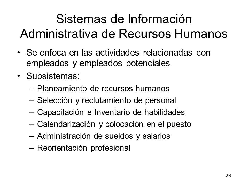 26 Sistemas de Información Administrativa de Recursos Humanos Se enfoca en las actividades relacionadas con empleados y empleados potenciales Subsiste