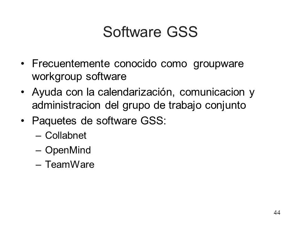 44 Software GSS Frecuentemente conocido como groupware workgroup software Ayuda con la calendarización, comunicacion y administracion del grupo de trabajo conjunto Paquetes de software GSS: –Collabnet –OpenMind –TeamWare