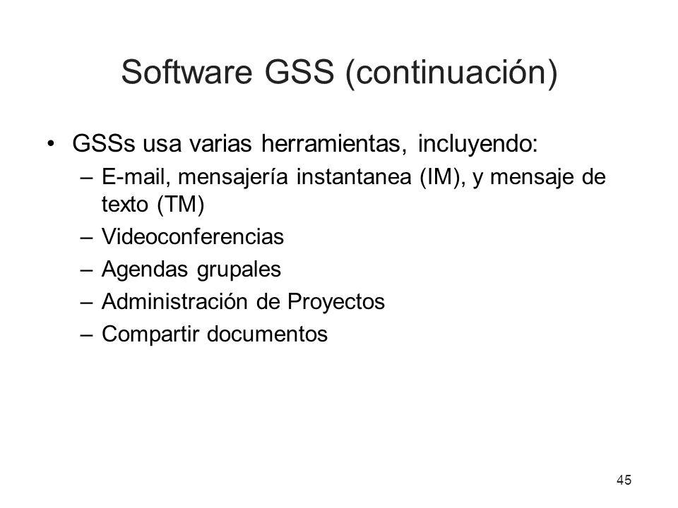 45 Software GSS (continuación) GSSs usa varias herramientas, incluyendo: –E-mail, mensajería instantanea (IM), y mensaje de texto (TM) –Videoconferencias –Agendas grupales –Administración de Proyectos –Compartir documentos