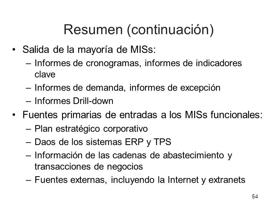 54 Resumen (continuación) Salida de la mayoría de MISs: –Informes de cronogramas, informes de indicadores clave –Informes de demanda, informes de exce