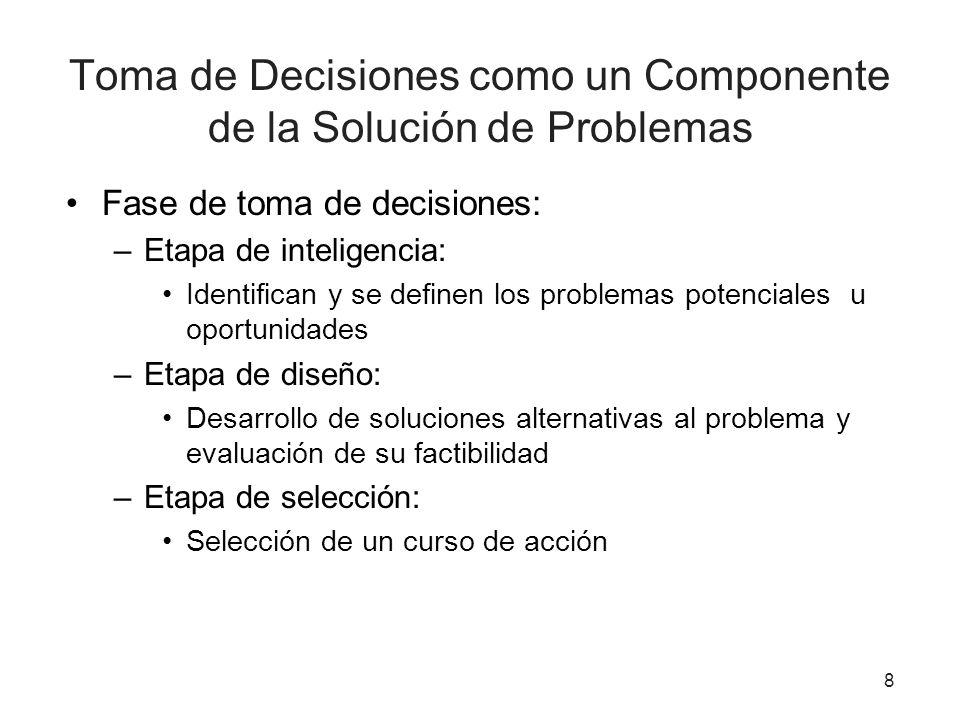 8 Toma de Decisiones como un Componente de la Solución de Problemas Fase de toma de decisiones: –Etapa de inteligencia: Identifican y se definen los p